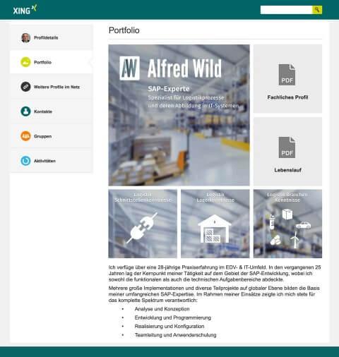 Vorschau und Link zum Xing Portfolio unseres Kunden Alfred Wild