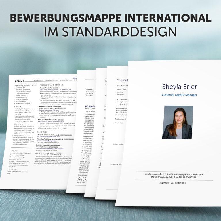 Unsere Bewerbungsmappe International im Standard-Design
