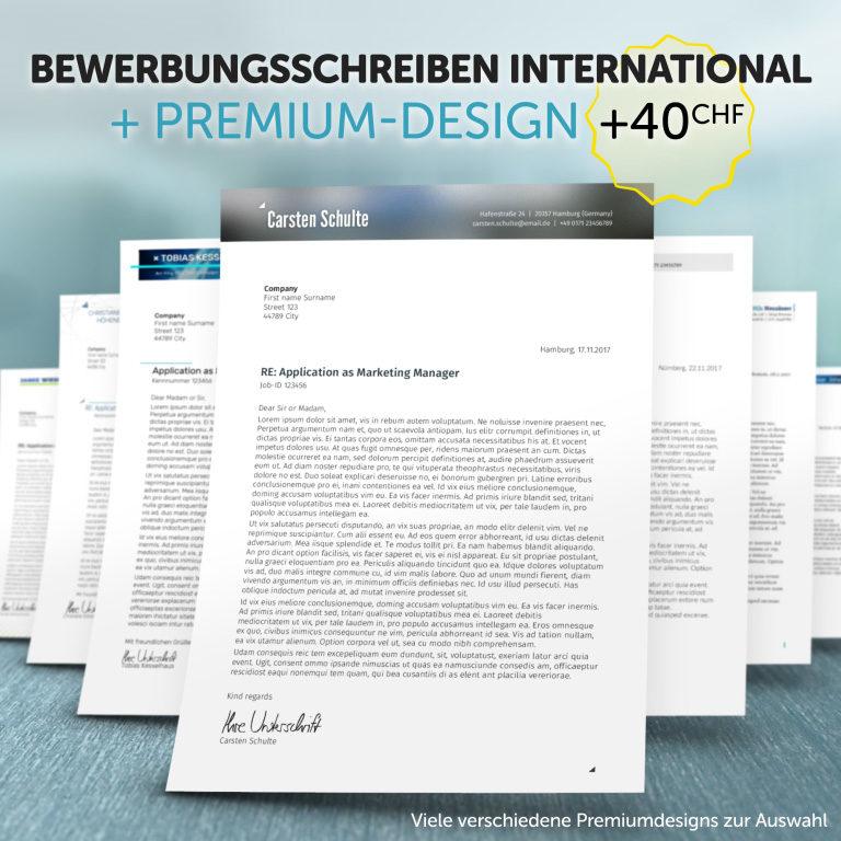 Unsere Bewerbungsschreiben International im Premium-Design