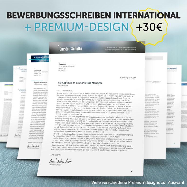 Unser Bewerbungsschreiben International im Premium-Design
