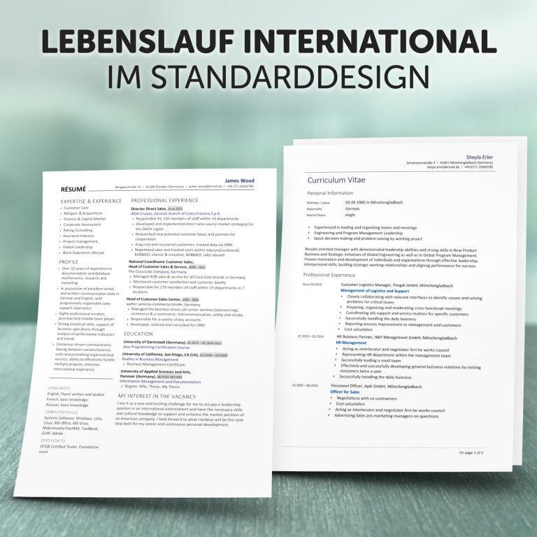 Unser Lebenslauf International im Standard-Design