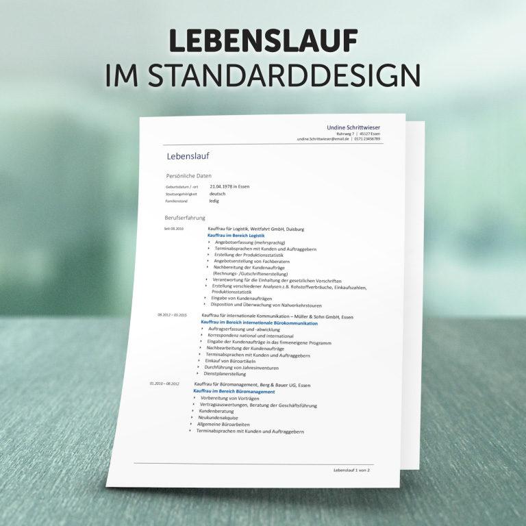 Unser Lebenslauf im Standard-Design