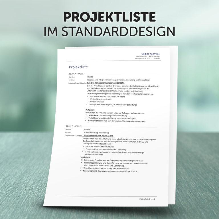 Zusatzprodukt Projektliste